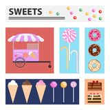 Sweet. Rectangular banners with sweets. Flat design, vector illustration, vector Stock Photo