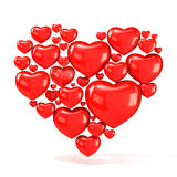 Sweet, red, beautiful hearts, arranged in shape of big heart Stock Images