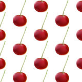 Sweet red cherries on branch filled with vitamin freshness. Seamless pattern. Royalty Free Stock Photography