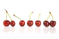 Sweet red cherries isolated on white background Stock Photography