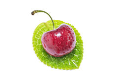 Sweet Red cherries isolated on a white background. Sweet Red cherries on white background as package design element Royalty Free Stock Images