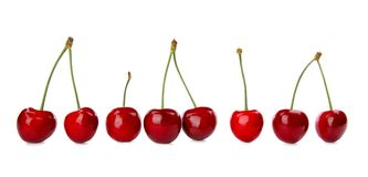 Sweet red cherries. On white background Stock Image