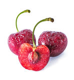 Sweet Red cherries on white background. As package design element Royalty Free Stock Images