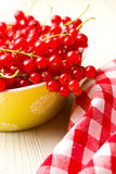 Sweet red currants. On kitchen table Stock Images