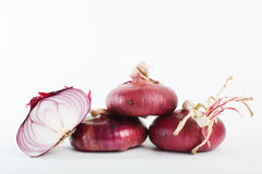 Sweet red onions and a cross-sectional Royalty Free Stock Photography