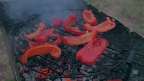 Sweet red pepper on the grill. He is smoked on the bbq. A great vegetarian dish stock video