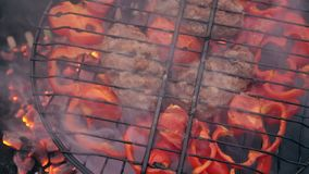 Sweet red pepper on the grill. He is smoked on the bbq. A great vegetarian dish stock video footage