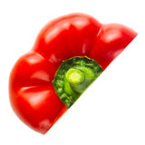 Sweet red pepper. Half of vegetable isolated on white. Stock Photography