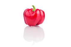 Sweet red pepper isolated on white background. Close up Stock Photos