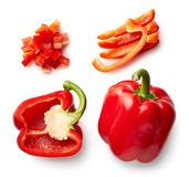 Sweet red pepper isolated on white. Background. Top view. Half and slices Stock Photography