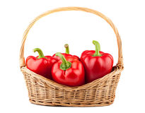 Sweet red pepper in wicker basket Royalty Free Stock Photos