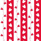 Sweet red and white doodle hearts seamless vector pattern on geometric striped background royalty free stock photos