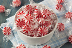 Sweet Red and White Peppermint Candy Stock Images