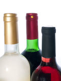 Sweet red and white wine bottles isolated royalty free stock image