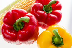 Sweet red and yellow pepper and corn Stock Photo