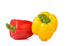 Sweet red and yellow pepper isolated on white background. Stock Image