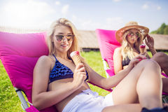 Sweet relax with ice cream Stock Image