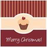 Sweet retro christmas card with muffin cupcake. Card or invitation for Christmas party with wishes. Classic retro vector illustration with red background, sweet Stock Photography