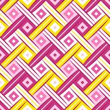 First Wrhombus Sweet Yellow Pink Complicated Rhombus Webbing Oblique Seamless Pattern. 