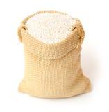 Sweet rice. In burlap bag Royalty Free Stock Photos