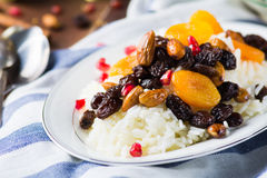 Sweet rice plov with dried fruits and nuts Royalty Free Stock Photography