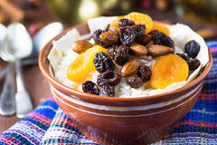 Sweet rice plov with dried fruits and nuts Royalty Free Stock Images