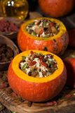 Sweet Rice With Dried Fruit In A Pumpkin, Vertical Royalty Free Stock Photo