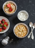 Sweet ricotta casserole with strawberry and cream. Royalty Free Stock Photo