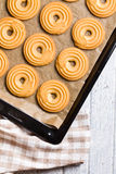 Sweet ring biscuit on baking tray Royalty Free Stock Image