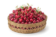 Sweet ripe cherries in a basket Stock Image