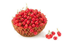 Sweet ripe cherries in a basket Stock Photography