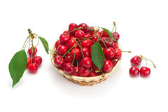 Sweet ripe cherries in a basket Royalty Free Stock Photography
