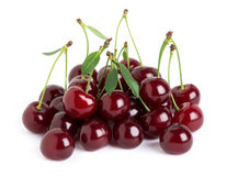 Sweet ripe cherry with leaf Royalty Free Stock Image