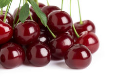 Sweet ripe cherry with leaf Royalty Free Stock Images