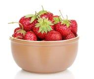 Sweet ripe strawberries in glass bowl Stock Image