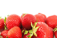Sweet ripe strawberries with leaves isolated Royalty Free Stock Photography