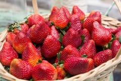 Sweet ripe strawberries in wicker basket Royalty Free Stock Image