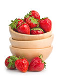 Sweet ripe strawberries in wooden bowl Royalty Free Stock Photography