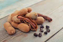 Sweet ripe tamarind pods Royalty Free Stock Photography