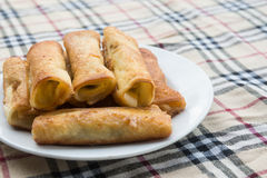 Sweet roll. Bread rolls stuffed with bananas Stock Photo
