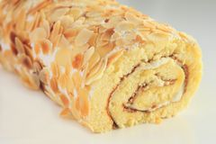 Sweet roll cake  on white Stock Photography
