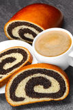 Sweet roll filled with poppy seed Royalty Free Stock Image