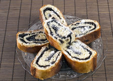 Sweet roll filled with poppy seeds. Close up Royalty Free Stock Photo