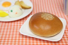 Sweet roll filled with red bean paste. Pictured sweet roll filled with red bean paste Royalty Free Stock Photo