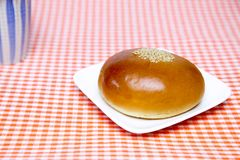 Sweet roll filled with red bean paste. Pictured sweet roll filled with red bean paste Stock Photos