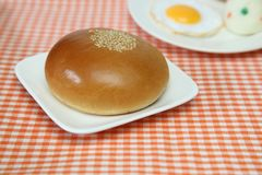 Sweet roll filled with red bean paste. Pictured sweet roll filled with red bean paste Stock Photography