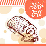 Sweet roll vector card. Hand-drawn poster with calligraphic element.  Stock Images