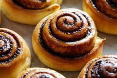 Sweet rolls with cinnamon and cocoa filling. Cinnabon roll bread, homemade bakery. Kanelbulle swedish dessert. Stock Photo