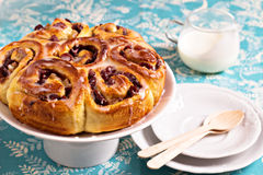 Sweet rolls with dried fruits Stock Photos