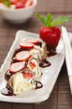 Sweet rolls with strawberries Stock Photography